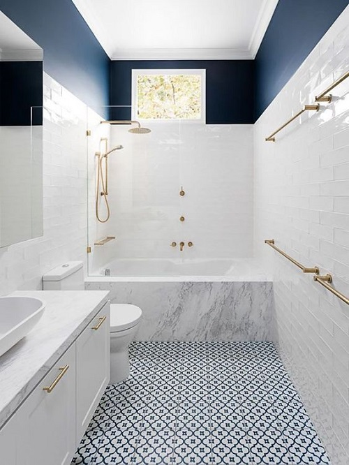 Gạch thẻ màu trắng cho phòng vệ sinh đẹp