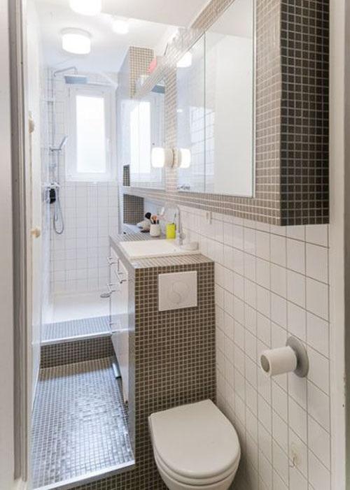 Gạch thẻ màu trắng cho phòng vệ sinh như một bức tranh