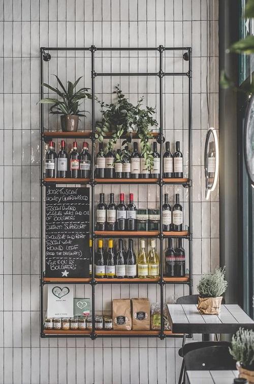 Gạch thẻ màu trắng ốp tường cho quán cà phê lịch sự