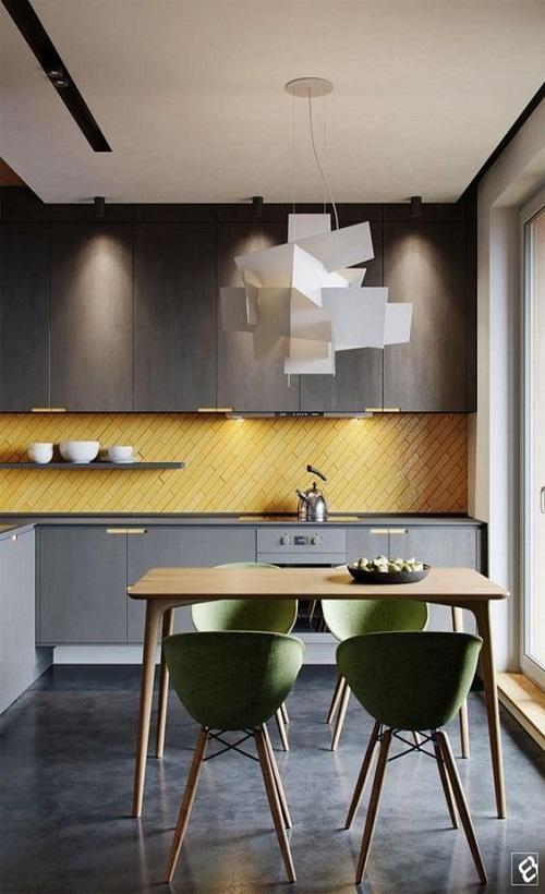 Gạch thẻ màu vàng cho phòng bếp lịch sự