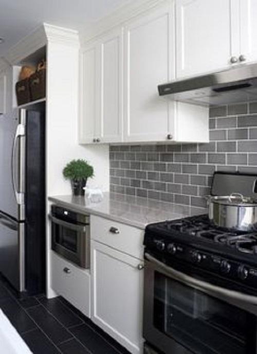 Gạch thẻ màu xám cho căn bếp vẻ đẹp tươi tắn, mới mẻ
