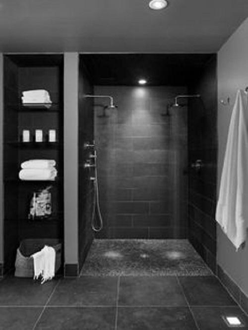 Gạch thẻ màu xám giúp làm nổi bật phòng vệ sinh của bạn