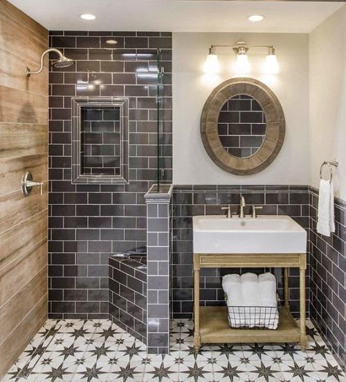 Trang trí bằng Gạch thẻ màu xám cho phòng vệ sinh dễ dọn dẹp