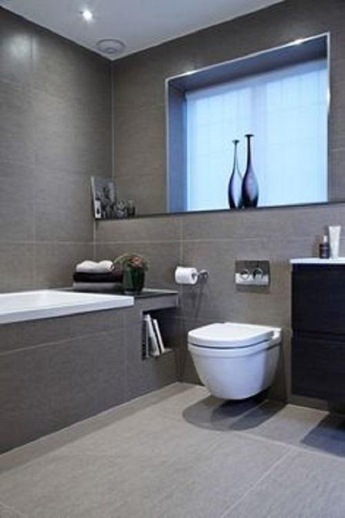 Trang trí bằng Gạch thẻ màu xám cho phòng vệ sinh vẻ đẹp nổi bật