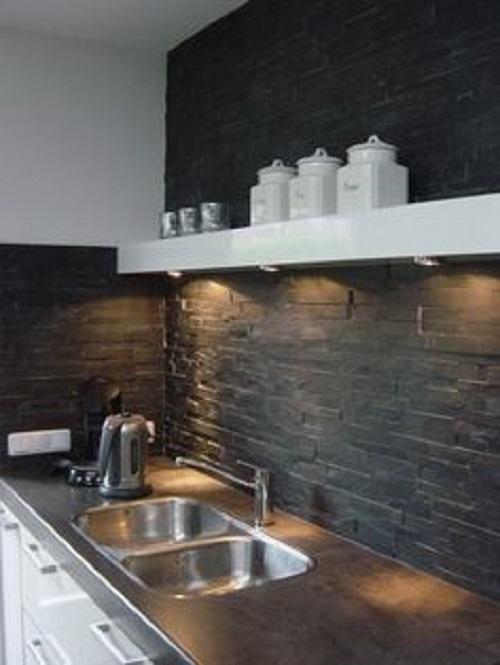 Gạch thẻ màu xám cho phòng bếp độc đáo và tinh tế