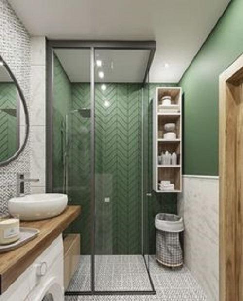 Gạch thẻ màu xanh cho phòng vệ sinh thu hút