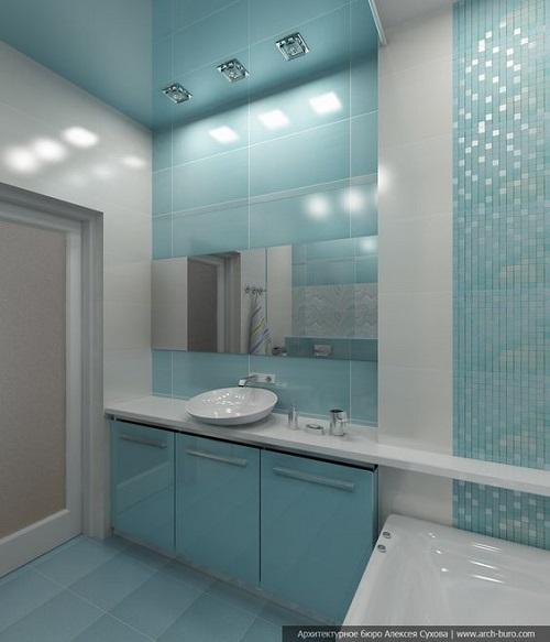Gạch thẻ màu xanh cho phòng vệ sinh độc đáo