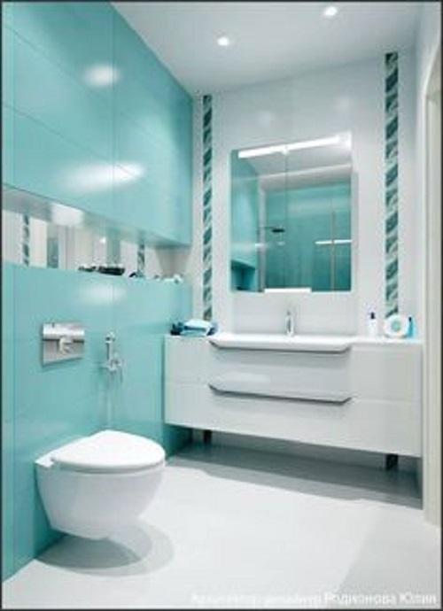 Gạch thẻ màu xanh giúp làm nổi bật phòng vệ sinh của bạn