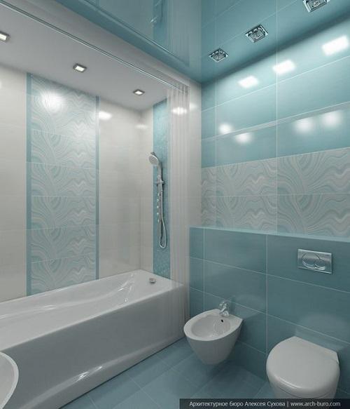 Gạch thẻ màu xanh cho WC ấn tượng