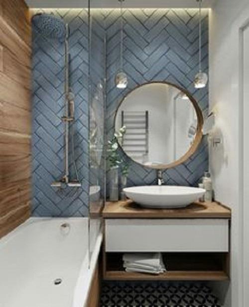 Gạch thẻ màu xanh cho không gian phòng vệ sinh gia đình nổi bật