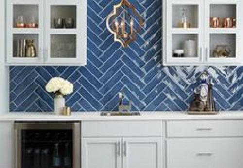 Gạch thẻ màu xanh cho phòng bếp mang lại cảm giác thư giãn và mát