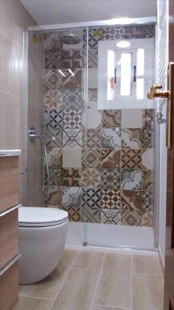 Mẫu gạch này ốp tường phòng vệ sinh đem đến không gian thêm ấn tượng.