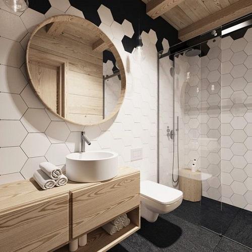 Gạch thẻ màu trắng cho không gian phòng vệ sinh gia đình nổi bật