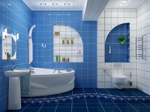 Gạch thẻ màu xanh giúp làm nổi bật phòng vệ sinh