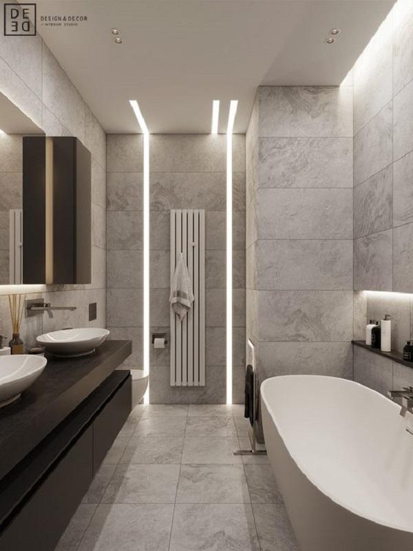 Mẫu gạch này tạo ra nét dịu dàng cho phòng vệ sinh