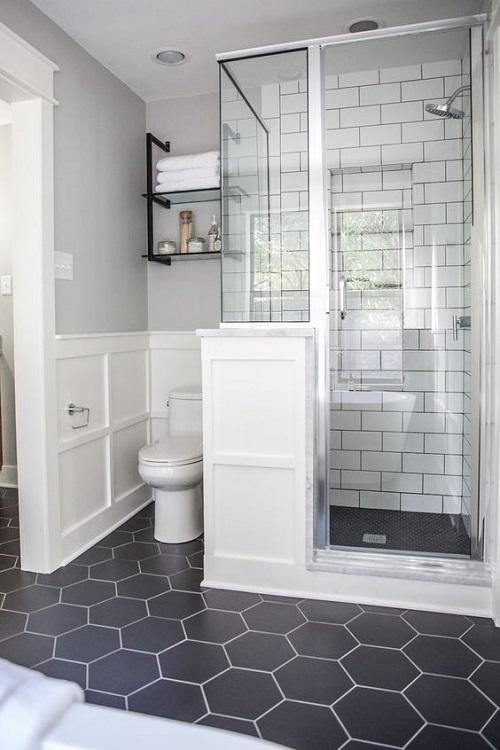 Gạch lục giác màu đen cho phòng vệ sinh độc đáo
