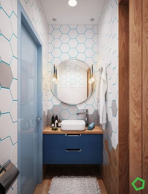 Trang trí bằng Gạch thẻ màu trắng cho phòng vệ sinh vẻ đẹp nổi bật