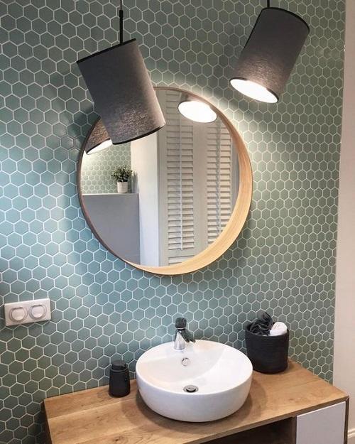 Trang trí bằng Gạch lục giác màu xám cho phòng vệ sinh vẻ đẹp nổi bật