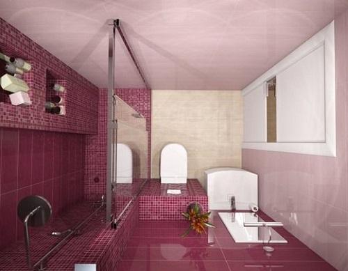 Gạch mosaic màu hồng ốp tường phòng vệ sinh đem đến không gian thêm ấn tượng.