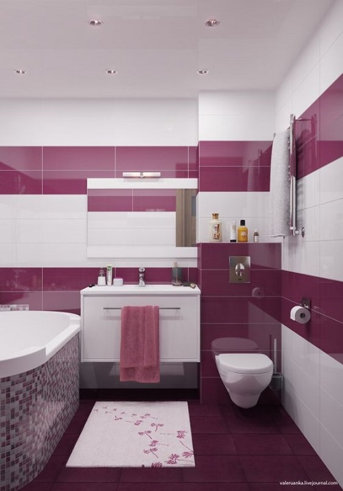 Gạch mosaic màu hồng ốp tường phòng vệ sinh tạo cảm giác thư giãn dễ chịu, thoải mái.