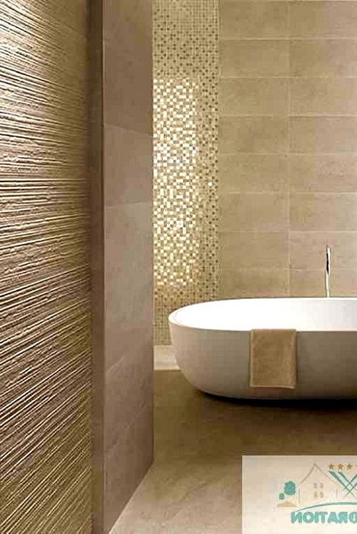 Trang trí bằng Gạch mosaic thủy tinh màu vàng cho phòng vệ sinh dễ dọn dẹp