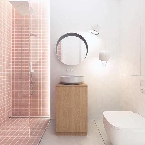 Gạch thẻ màu hồng đem tới không gian hiện đại cho phòng vệ sinh