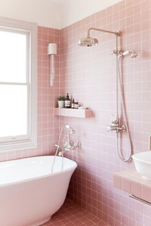 Gạch thẻ màu hồng cho phòng vệ sinh sạch sẽ