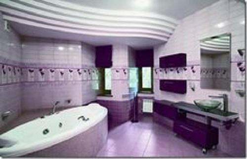 Trang trí bằng Gạch thẻ màu tím cho phòng vệ sinh vẻ đẹp nổi bật