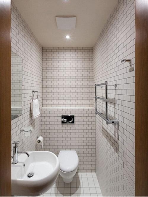 Gạch thẻ màu trắng cho phòng vệ sinh độc đáo