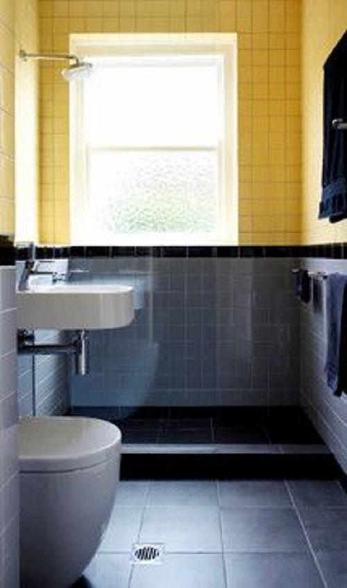 Trang trí phòng vệ sinh bằng Gạch thẻ màu vàng