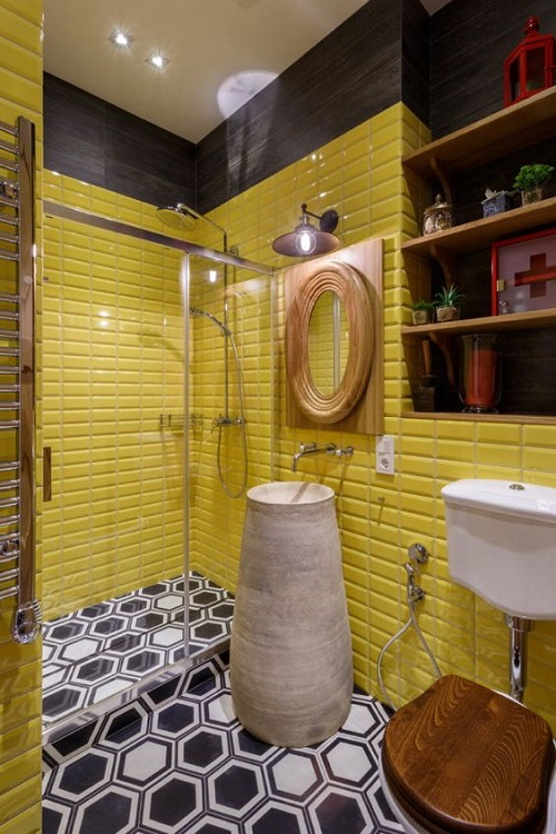 Trang trí bằng Gạch thẻ màu vàng cho phòng vệ sinh sang trọng