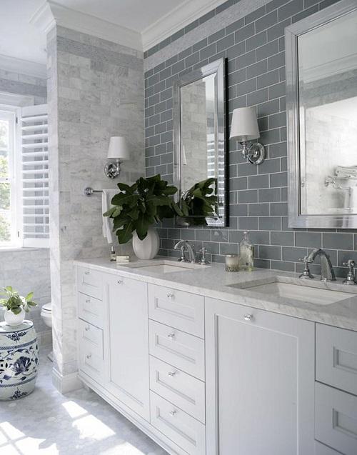 Gạch thẻ màu xám cho phòng vệ sinh không gian đẹp và có sức sống hơn.