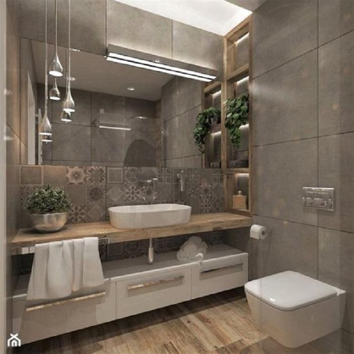 Trang trí bằng Gạch bông vân cổ điển cho phòng vệ sinh sạch sẽ