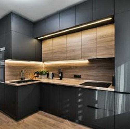 Gạch thẻ màu đen cho phòng bếp thanh lịch và tinh tế.