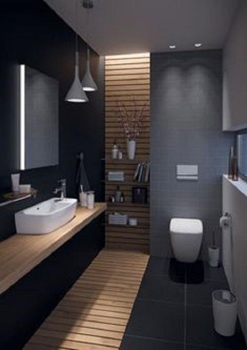 Trang trí phòng vệ sinh bằng Gạch thẻ màu đen