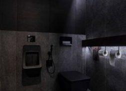 Trang trí bằng Gạch thẻ màu đen cho phòng vệ sinh thân thiện