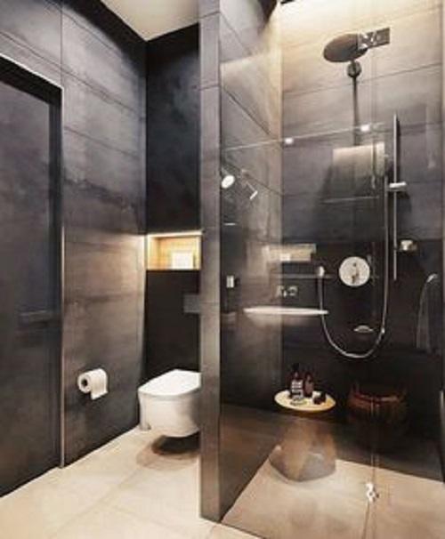 Trang trí bằng Gạch thẻ màu đen cho phòng vệ sinh sạch sẽ
