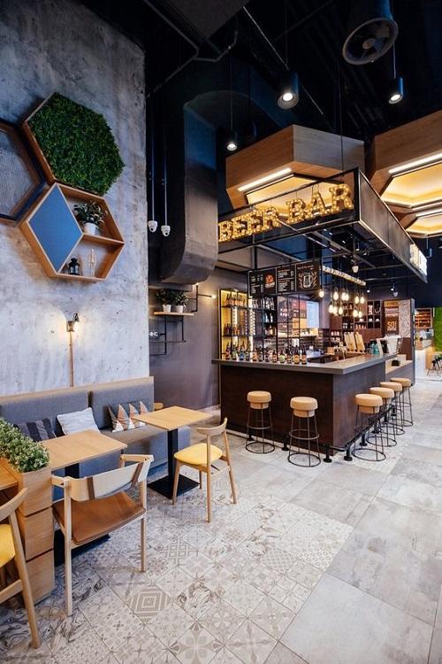 Gạch thẻ màu trắng ốp tường cho quán cà phê nổi trội