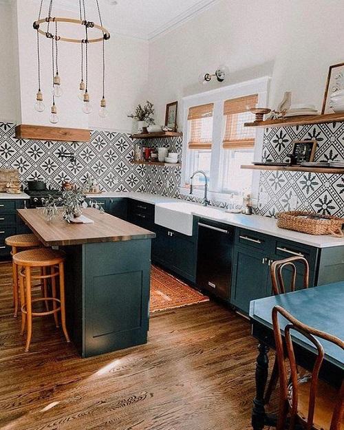 Gạch bông vân cổ điển cho không gian bếp không gian trông rộng rãi, thoáng đãng
