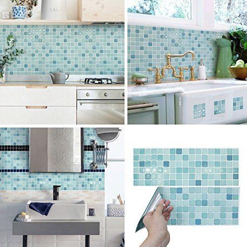 Gạch mosaic màu xanh cho tường bếp vẻ đẹp tôn quý