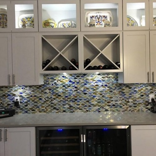 Gạch mosaic thủy tinh màu xanh