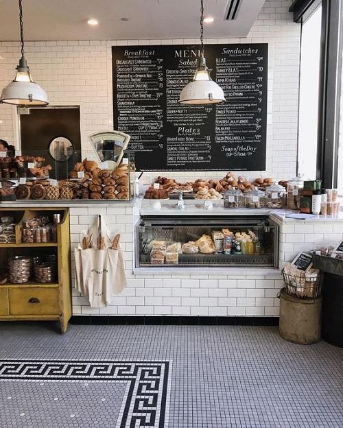Gạch thẻ màu trắng ốp tường cho quán cà phê độc đáo