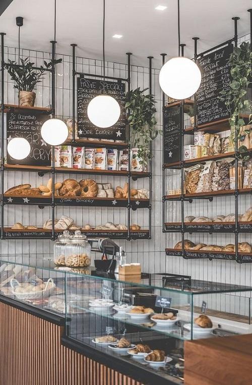 Gạch thẻ màu trắng ốp tường cho quán cà phê đẹp