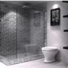 Sử dụng gạch mosaic màu xám cho phòng vệ sinh ấn tượng