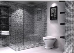 Trang trí bằng Gạch mosaic màu xám cho phòng vệ sinh sang trọng
