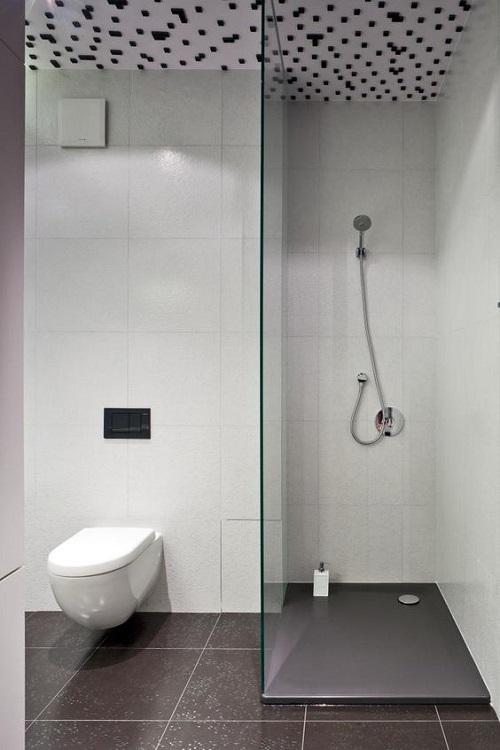 Trang trí bằng Gạch thẻ màu trắng cho phòng vệ sinh thân thiện