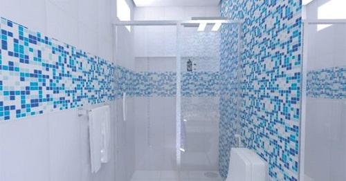 Gạch mosaic thủy tinh màu xanh cho phòng vệ sinh ấn tượng