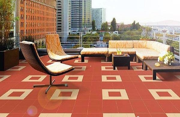 Gạch ceramic sử dụng để lát nền cho sân thượng
