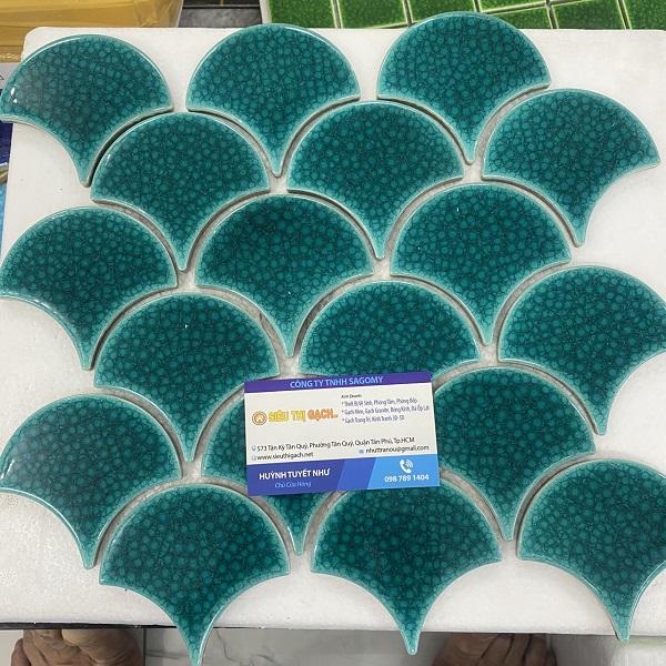 Gạch Mosaic Gốm Vảy Cá – Vảy Rồng Màu Xanh Ốp Bếp – Phòng Vệ Sinh