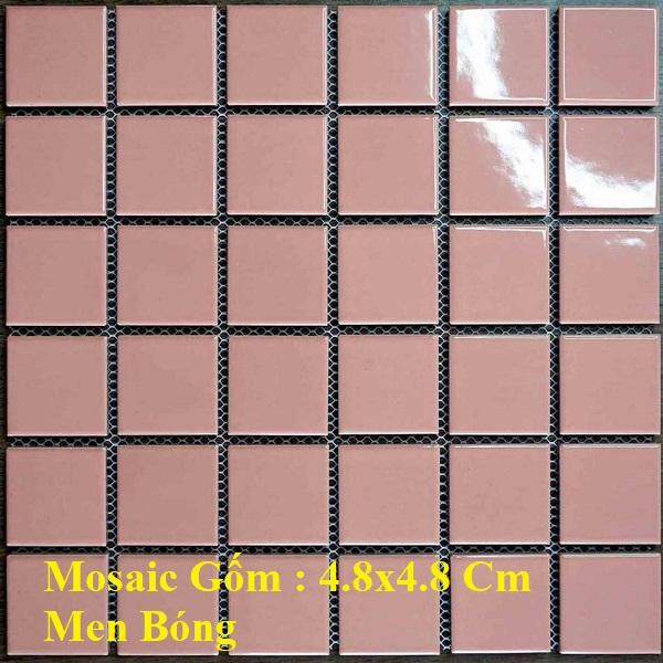 Gạch Mosaic Gốm Màu Hồng Ốp Tường Phòng Vệ Sinh – Ốp Bếp